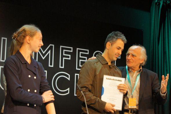 """Von links nach rechts: Leona """"Lotta"""" Schwering (consulting member für Kinderfilme), Alê Abreu (Regisseur), Eckart Bruchner (Direktor der Interfilm-Akademie München/Antwerpen)"""